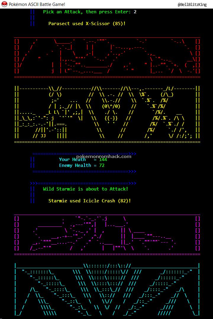 Pokemon ASCII Battle Game! PC Hacks